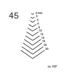 Goiva curvada perfil V corte 45